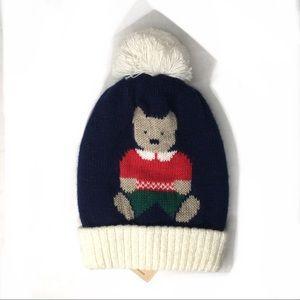NWT Raffaello Bettini Knit Bear Pom Pom Beanie